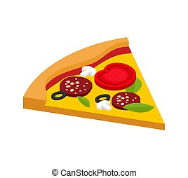Slice of pizza isometric style isolated. Fast food vector illustration
