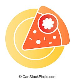 Slice of pizza on a plate flat icon. Fast food color icons in trendy flat style. Pepperoni gradient style design, designed for web and app. Eps 10.