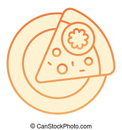 Slice of pizza on a plate flat icon. Fast food orange icons in trendy flat style. Pepperoni gradient style design, designed for web and app. Eps 10.