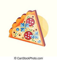 Slice of pizza vector Illustration on a white background