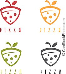 slice of pizza with leaf vector design template