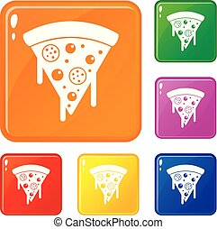 Slice of pizza with salami, melted cheese icons set vector color