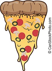 Slice of pizza with salami olive and meadow . Vector clip art fast food illustration