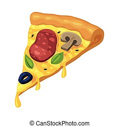 Slice of Pizza with Sausage, Mushrooms and Olives, Fast Food Meal Vector Illustration