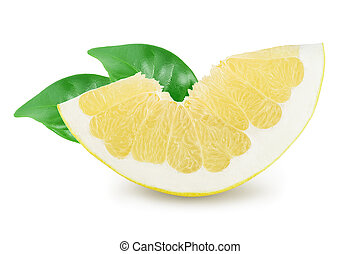 slice of pomelo with leaf isolated on white background