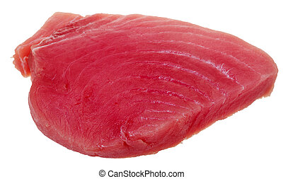 slice of raw tuna fish meat isolated on white