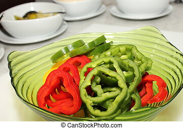 Slice of red and green pepper