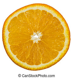 Slice of ripe orange, isolated on white background