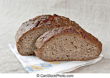 Slice of rye bread with seeds