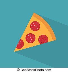 slice of salami pizza icon- vector illustration