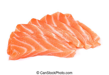 Slice of salmon isolated on white background