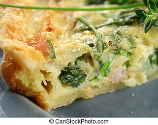 Slice Of Spinach And Bacon Quiche