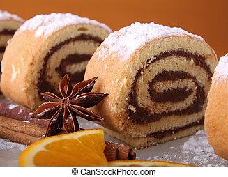 slice of swiss roll chocolate