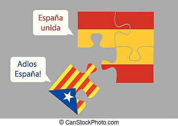 Slice of the puzzle of the flag of Catalonia falls out of the flag of Spain