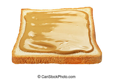 Slice of toasted bread with peanut butter isolated on white.