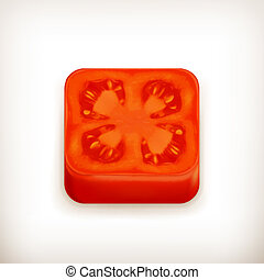 Slice of tomato app icon, vector