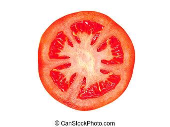 Slice of tomato isolated on white