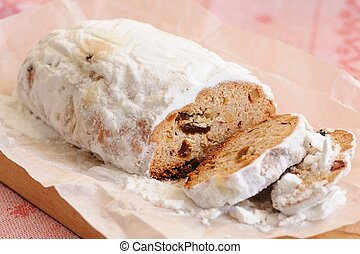 Slice of traditional stollen christmas cake