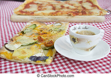 slice of vegetarian pizza with cup of cappuccino