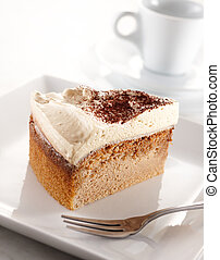 volcano coffee cake - slice of volcano coffee cake, shallow ...