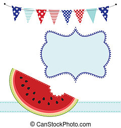 Slice of watermelon and bunting or flags, with frame