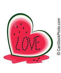 Slice of Watermelon as a heart