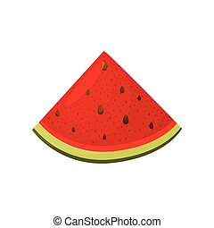 Slice of watermelon close-up. Vector illustration on white background.