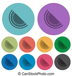 Slice of watermelon color darker flat icons