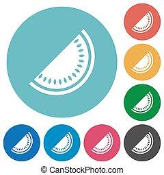 Slice of watermelon flat round icons
