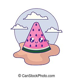 slice of watermelon fruit kawaii in the beach