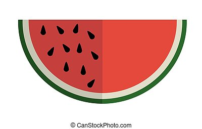 Slice of watermelon fruit with seeds