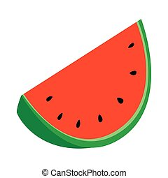Slice of watermelon icon, isometric 3d style