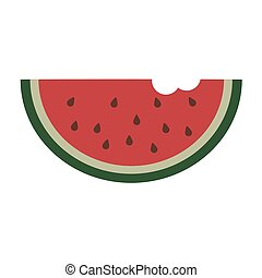 Slice of watermelon on white background. Vector illustration in trendy flat style. EPS 10
