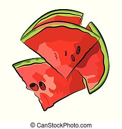 Slice of watermelon on white background, vector illustration