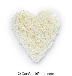 slice of white bread heart shape