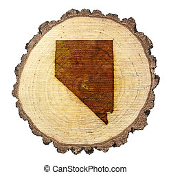 A slice of oak and the shape of Nevada branded onto .(series)
