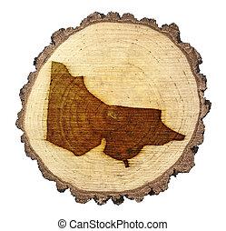 Slice of wood (shape of Victoria branded onto) .(series)