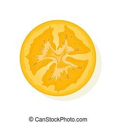 Slice of yellow tomato isolated on white. Juicy ripe tomato. Vector Illustration.