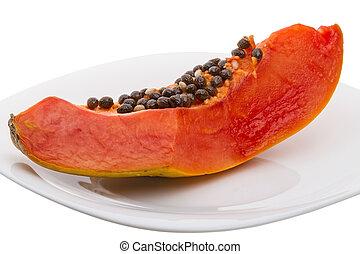 Slice papaya on a white plate