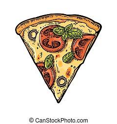 Slice pizza margherita. Vintage vector engraving illustration for poster, menu, box.