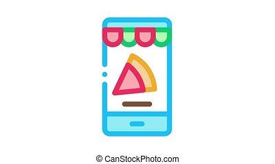 Slice Pizza Phone Icon Animation. color Slice Pizza Phone animated icon on white background
