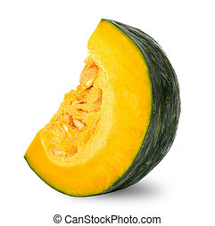 Slice pumpkin isolated on white with clipping path