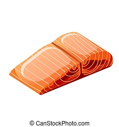 Slice red fish fillet isolated on white background. Vector ...