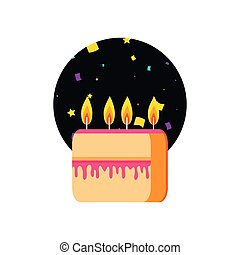 slice sweet cake of birthday with candles