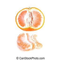 slice tangerine isolated on white background