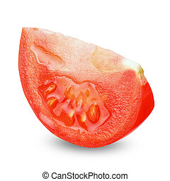 Slice tomato isolated with clipping path