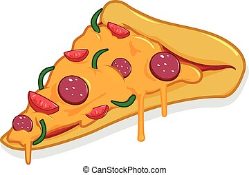 slice., vecteur, illustration, pizza