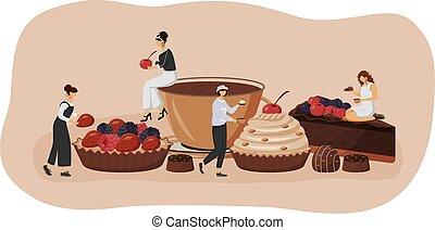 slice., visiteurs, chocolat, plat, caractères, café, toile, illustration., fraise, framboise, 2d, nourriture, patisserie, patisserie, tart., dessin animé, idée, concept, créatif, design., vecteur, prime, gâteau