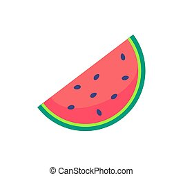 Slice Watermelon Icon Sweet Organic Fruit Vector