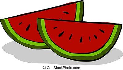 Slice watermelon, illustration, vector on white background.